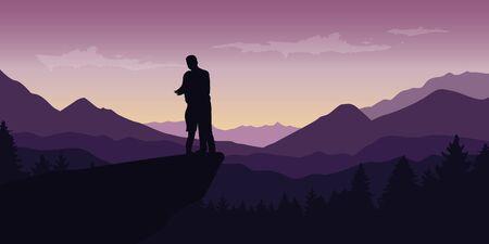 couple enjoy the mountain view at purple landscape illustration