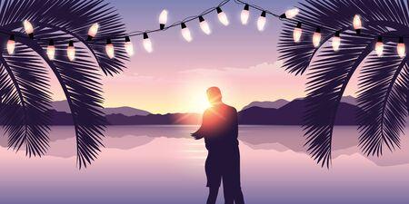 romantic couple at sunset on paradise beach with fairy light illustration Ilustrace