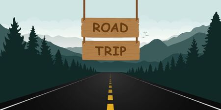 road trip wooden sign in the forest with green mountain landscape vector illustration EPS10