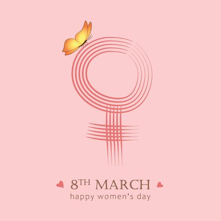 8th march international womans day female symbol with butterfly  illustration