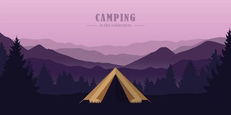 camping adventure in the wilderness tent in the forest at mountain landscape vector illustration EPS10