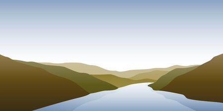 big river nature landscape outdoor adventure in autumn  illustration