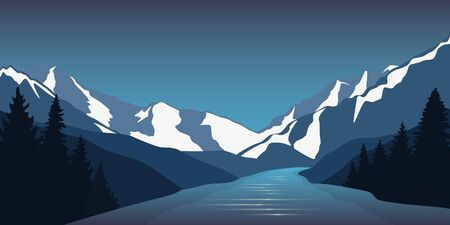big river nature landscape outdoor adventure in winter vector illustration EPS10