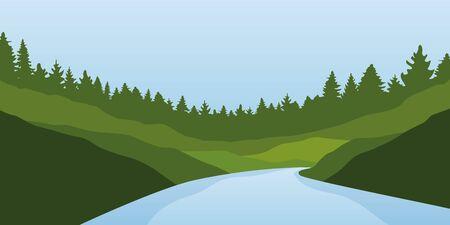 big river nature landscape outdoor adventure in summer  illustration