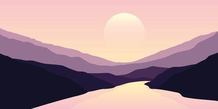 big river nature landscape outdoor adventure at sunset  illustration