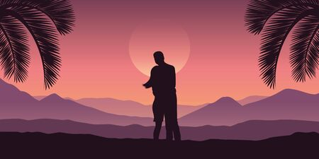 romantic couple at tropical red mountain landscape in purple colors illustration