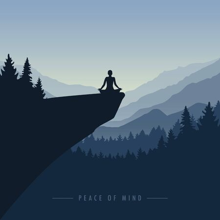 peace of mind mediating person on a cliff with mountain view blue nature landscape illustration Illustration