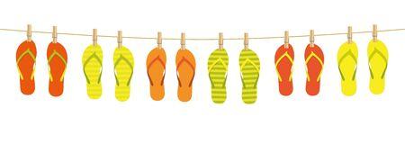 colorful pattern flip flops hanging on a rope on white background summer holiday design illustration