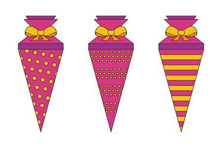 pattern school cone set pink and orange illustration Reklamní fotografie - 139268722