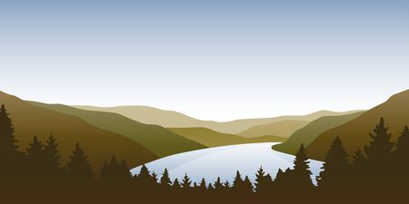 big river nature landscape outdoor adventure in autumn vector illustration EPS10