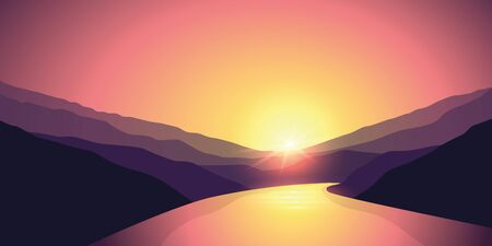 big river nature landscape outdoor adventure at sunrise vector illustration EPS10