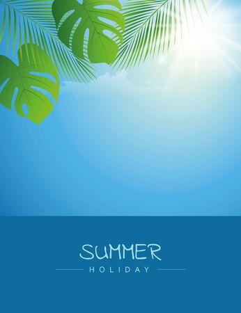 summer holiday sky with palm leaf and sunshine background vector illustration EPS10 Ilustrace
