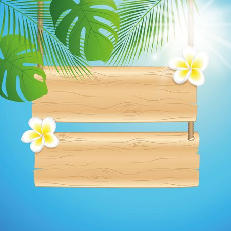 blank hanging wooden sing with frangipani tropical flowers and sunny sky background with palm leaf illustration