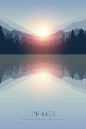beautiful sunrise by peaceful lake on mountain nature landscape vector illustration EPS10 Ilustrace