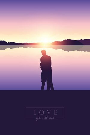 romantic couple silhouette by the lake at sunset  illustration Ilustrace