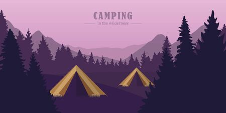 camping adventure in the wilderness two tents in the forest at purple mountain landscape vector illustration EPS10 Ilustrace