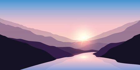 big river nature landscape outdoor adventure at sunrise  illustration