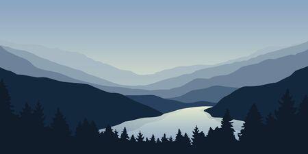 big blue river nature landscape outdoor adventure  illustration Ilustrace