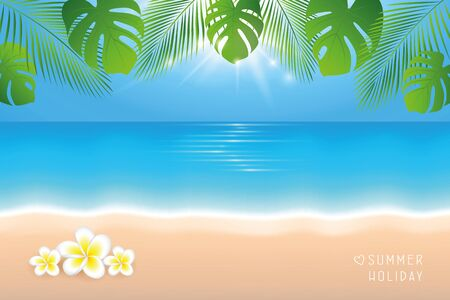 sunny day on the beach summer holiday background with frangipani tropical flowers vector illustration EPS10