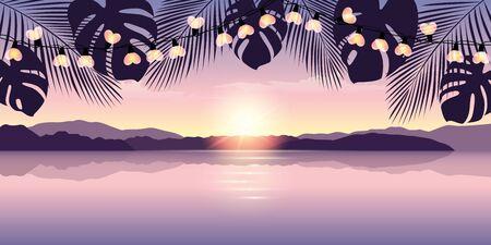 romantic sunset at paradise beach with heart fairy light vector illustration EPS10