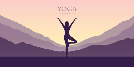 Girl practicing yoga in purple mountain view illustration