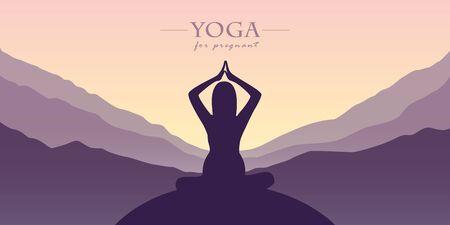 yoga for pregnant women silhouette mountain view purple landscape vector illustration EPS10 Ilustrace