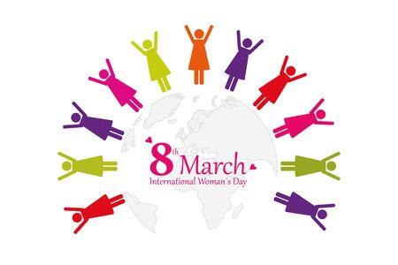 international womens day 8th march women around the world pictogram  illustration Ilustrace