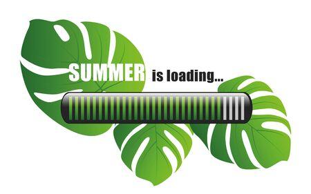 summer is loading palm leaf beackground vector illustration EPS10 Ilustracja