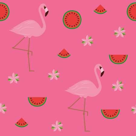 seamless pattern tropical summer design with flamingos flowers and watermelon illustration