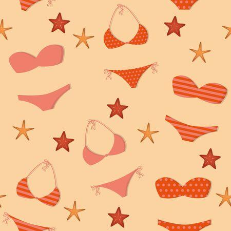 seamless pattern summer holidays design with bikinis and starfish illustration Ilustrace