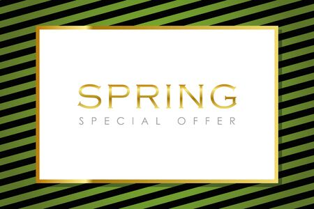 spring special offer green striped card with gold border illustration Ilustrace