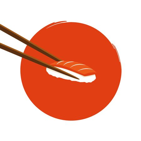 holding sushi with salmon with chopsticks on an circle orange background vector illustration EPS10