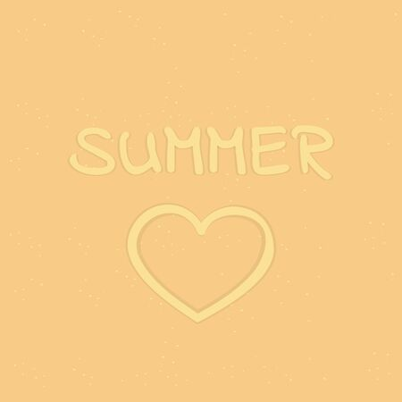 summer letter and heart in sand vector illustration EPS10 Ilustrace