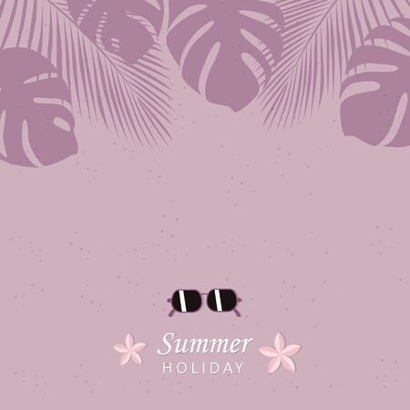 summer holiday beach design with sunglasses and palm leaves vector illustration EPS10 Ilustrace