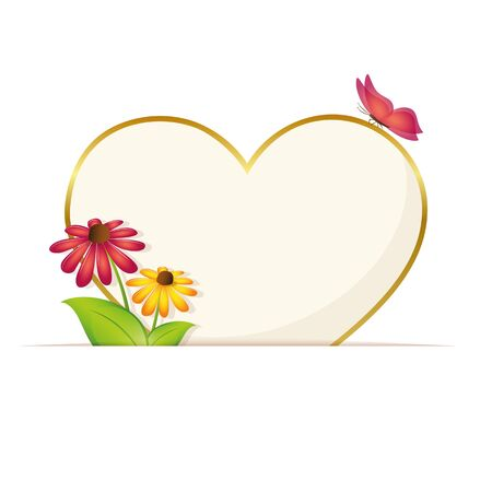 paper heart greeting card with flowers and butterfly vector illustration EPS10