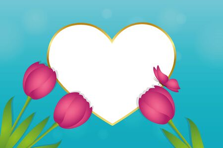 turquoise greeting card with heart pink tulips and butterfly vector illustration EPS10