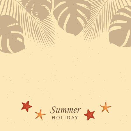 summer holiday beach design sand starfish and palm leaves vector illustration EPS10