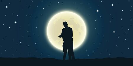 romantic night loving couple is looking at the full moon vector illustration EPS10 Ilustrace
