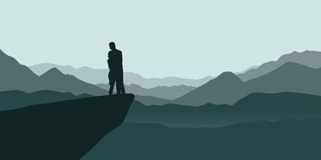 young couple on a cliff enjoy the mountain view vector illustration EPS10 Ilustrace