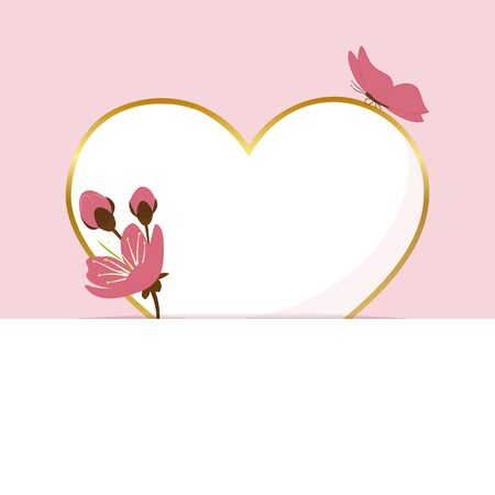 paper heart pink greeting card with cherry blossom and butterfly vector illustration EPS10 Ilustrace