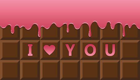 I love you chocolate bar with pink melting glaze vector illustration EPS10