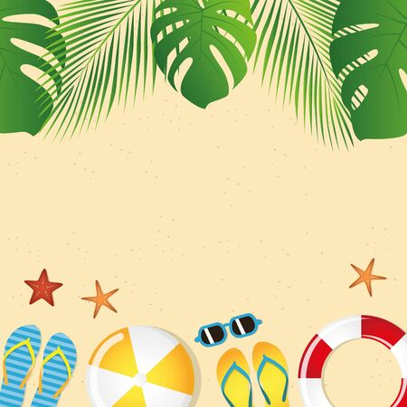 different beach utensils summer holiday background with flip flops sunglasses crab and starfish