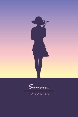 young girl silhouette summer holiday design vector illustration EPS10 Ilustrace