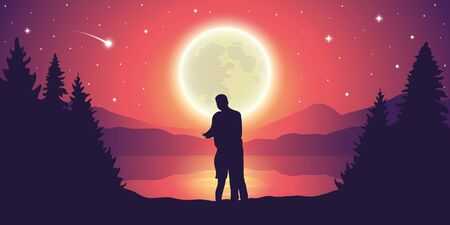 couple looks to the full moon and falling stars at beautiful lake