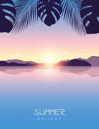 summer holiday by the ocean sunset with palm leaves background vector illustration EPS10 Ilustrace