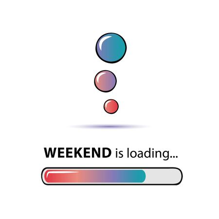 weekend loading infographic with loading bar and bubbles vector illustration EPS10 Reklamní fotografie - 139578082