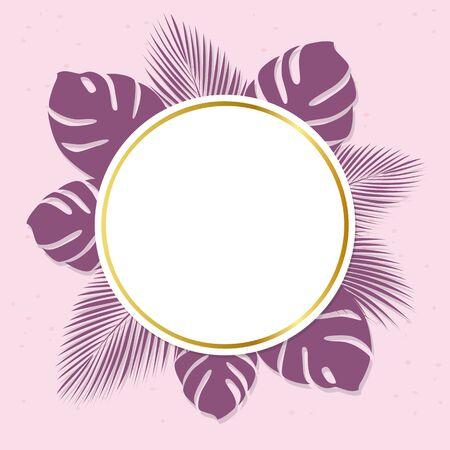 purple summer holiday label on palm leaf with golden border vector illustration EPS10 Reklamní fotografie - 139578990