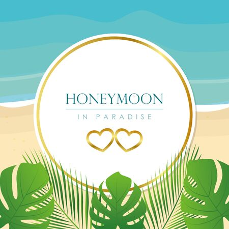 honeymoon in paradise design on the beach with palm leaf vector illustration EPS10