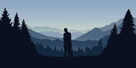 young couple in the forest are looking into the distance on a mountain landscape vector illustration EPS10