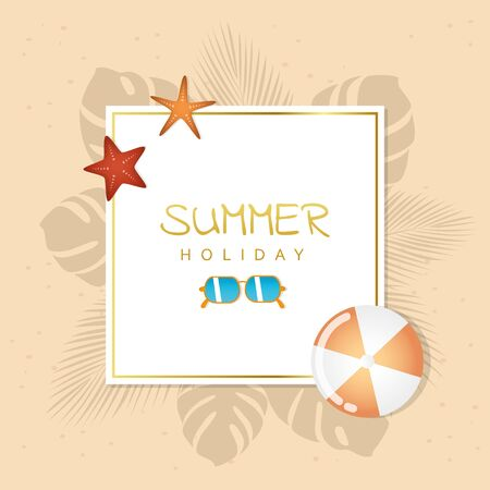 summer holiday design with sunglasses ball and starfish vector illustration EPS10